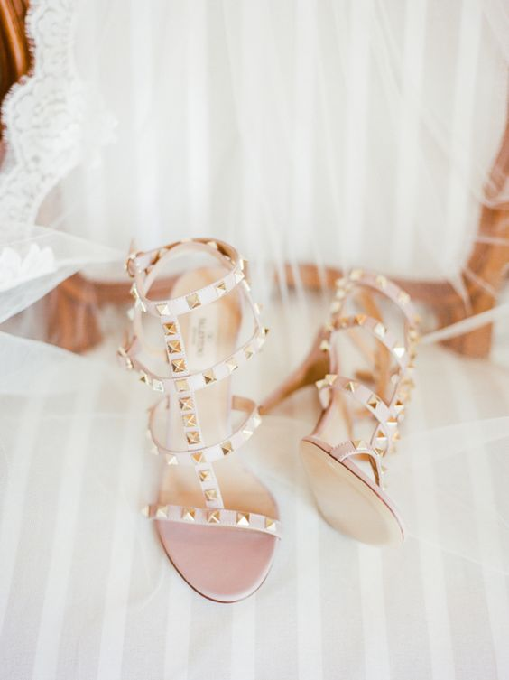 nude Valentino strappy studded heels for a gorgeous and chic bridal look with a touch of edge