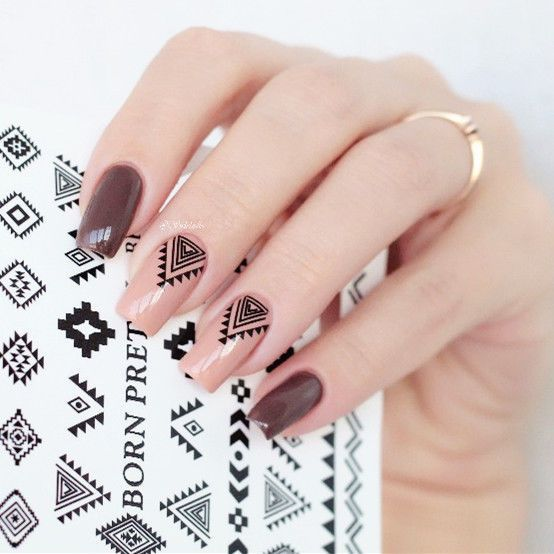 peachy and chocolate brown nails with boho patterns are perfect for a boho bride