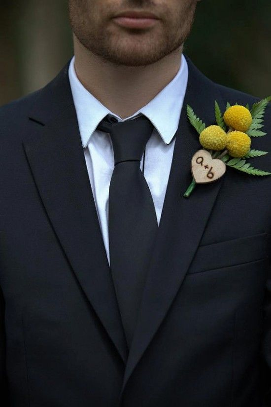 pretty wood heart with wood burning and billy balls wedding boutonniere is a good idea for a rustic or a woodland wedding