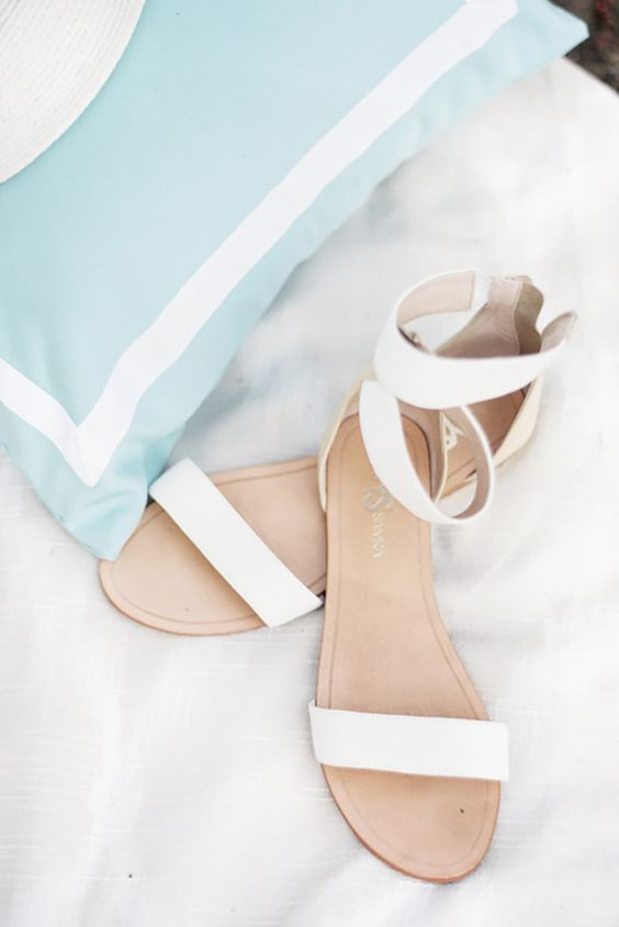 simple white ankle strap sandals are very comfy to wear and will match many bridal looks