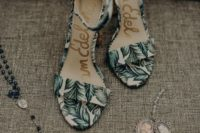 tropical leaf print wedding shoes with ankle straps are ideal for a tropical or just summer wedding