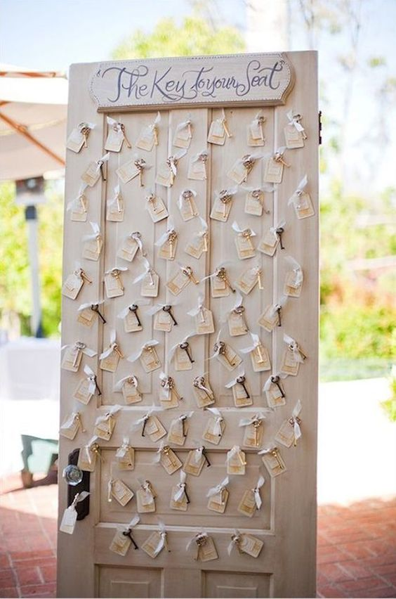 a vintage door with vintage keys and tags is a stylish idea for a rustic or just vintage wedding