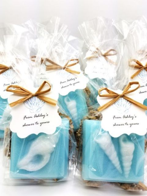 blue sea shell soaps with tags are gorgeous wedding favors that will highlight your location and theme