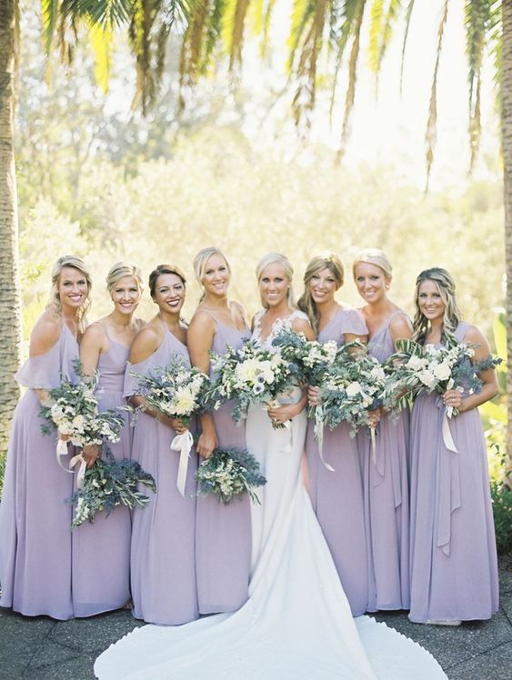 cold shoulder maxi lilac bridesmaid dresses are super chic and very feminine