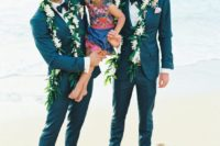 elegant blue tuxedos with bow ties and shirts plus bare feet are awesome for a more formal ceremony