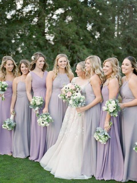 lilac and lavender maxi bridesmaid dresses are super romantic and trendy mismatching