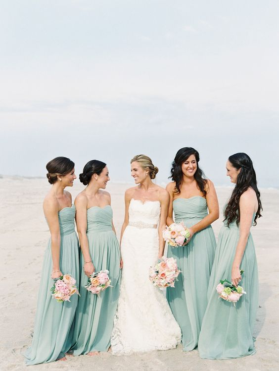 matching seafoam bridesmaid maxi dresses with draped bodices are romantic, sweet and lovely for a beach wedding