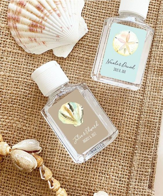 mini hand sanitizers are lovely wedding favors for a beach tropical wedding, and they are useful