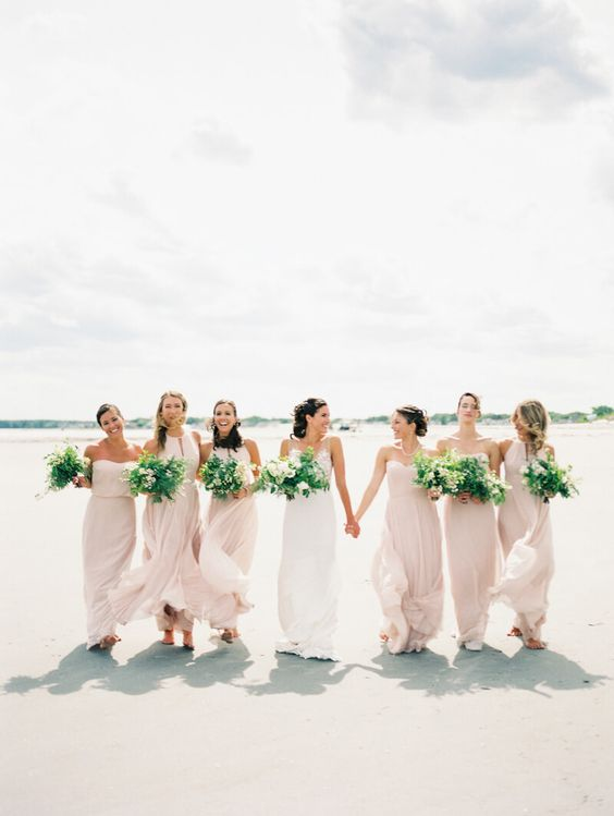 mismatching blush maxi bridesmaid dresses are a lovely and girlish solution for a modern romantic beach wedding