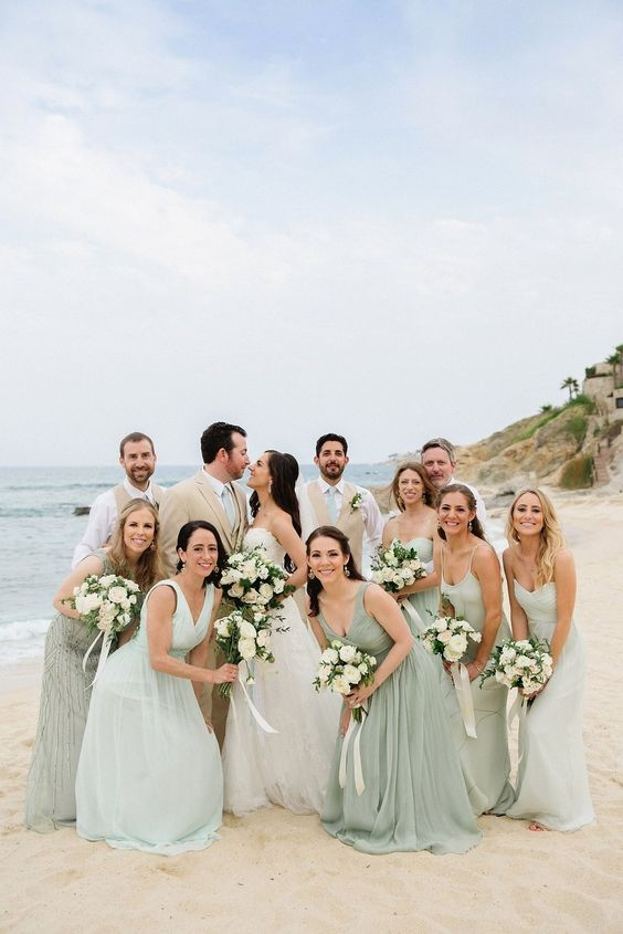 mismatching grey and seafoam maxi bridesmaid dresses for a neutral or pastel beach wedding