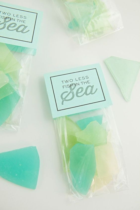 packs of edible sea glass are great beach wedding favors that everyone will love