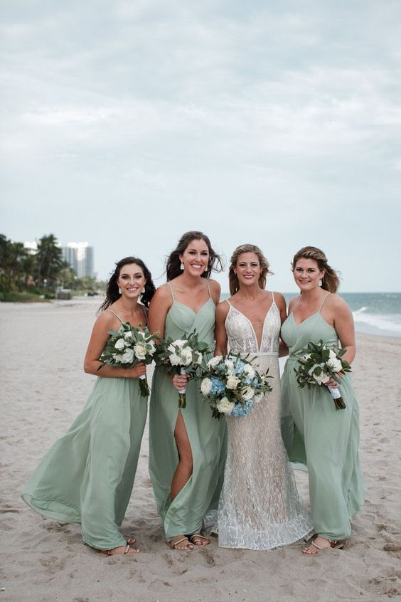 seafoam maxi bridesmaid dresses with spaghetti straps, draped bodices and side slits are very romantic and very chic
