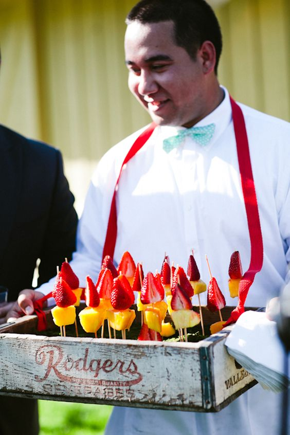 strawberry and pineapple cocktail skewers will be a nice idea for a summer wedding cocktail hour