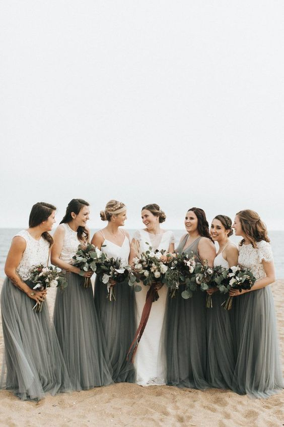 stylish beach bridesmaid separates with white plain and lace crop tops and a graphite grey tulle skirts