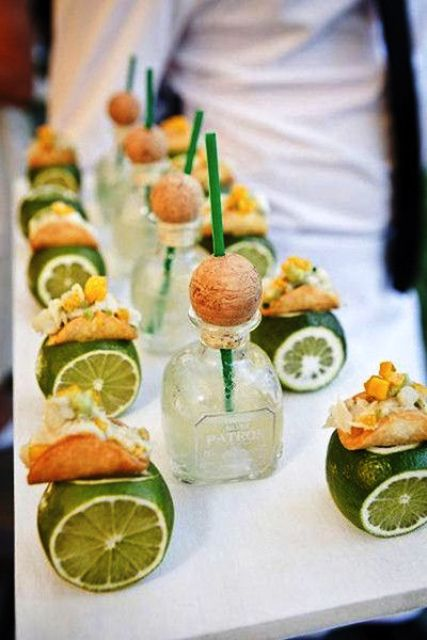 tequila and tacos served on whole limes is a fantastic idea for a couple that loves Mexican cuisine