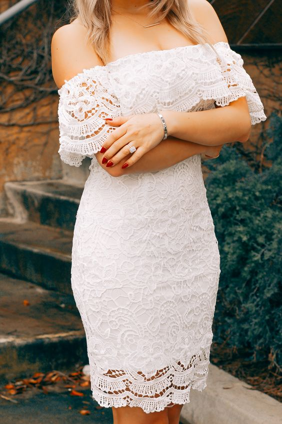 a chic white lace off the shoulder knee dress is a stylish and sexy idea to rock at your event