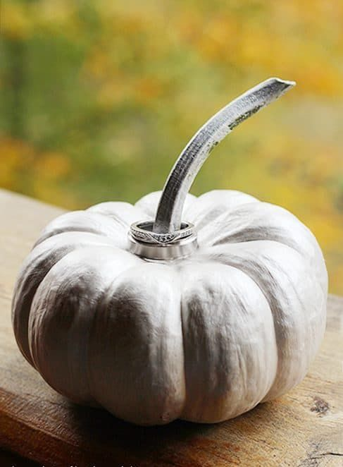 a whitewashed pumpkin with wedding rings on the stem is a fun idea for a fall wedding