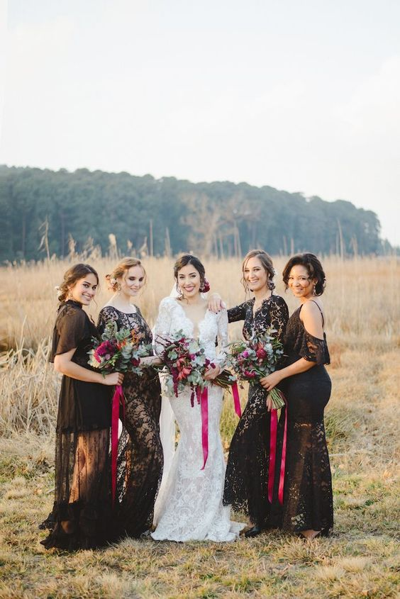 mismatching black lace maxi dresses with long sleeves, short sleeves and off the shoulder ones for a dramatic fall wedding