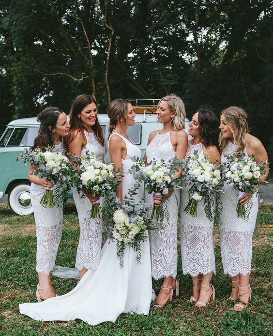 white boho lace midi bridesmaid dresses with halter necklines and nude shoes are very chic and very elegant and will fit a summer wedding