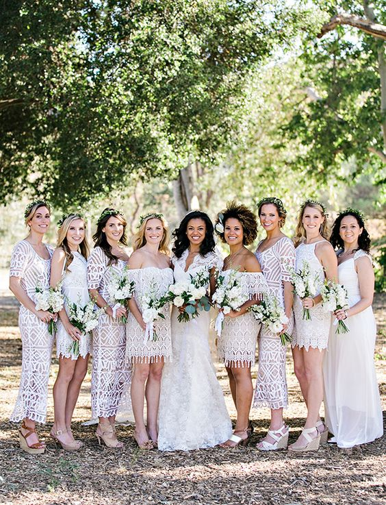 white boho lace mini and midi bridesmaid dresses with various necklines and silhouettes are very stylish and edgy