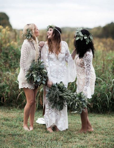 white short boho lace bridesmaid dresses with long sleeves for a trendy white bridal party
