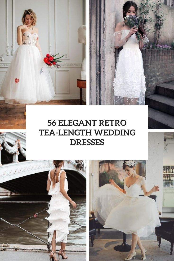 elegant tea length retro wedding dresses cover