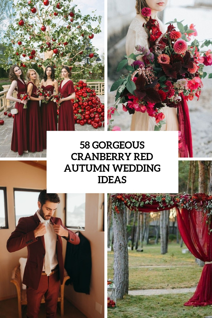 gorgeous cranberry red autumn wedding ideas cover