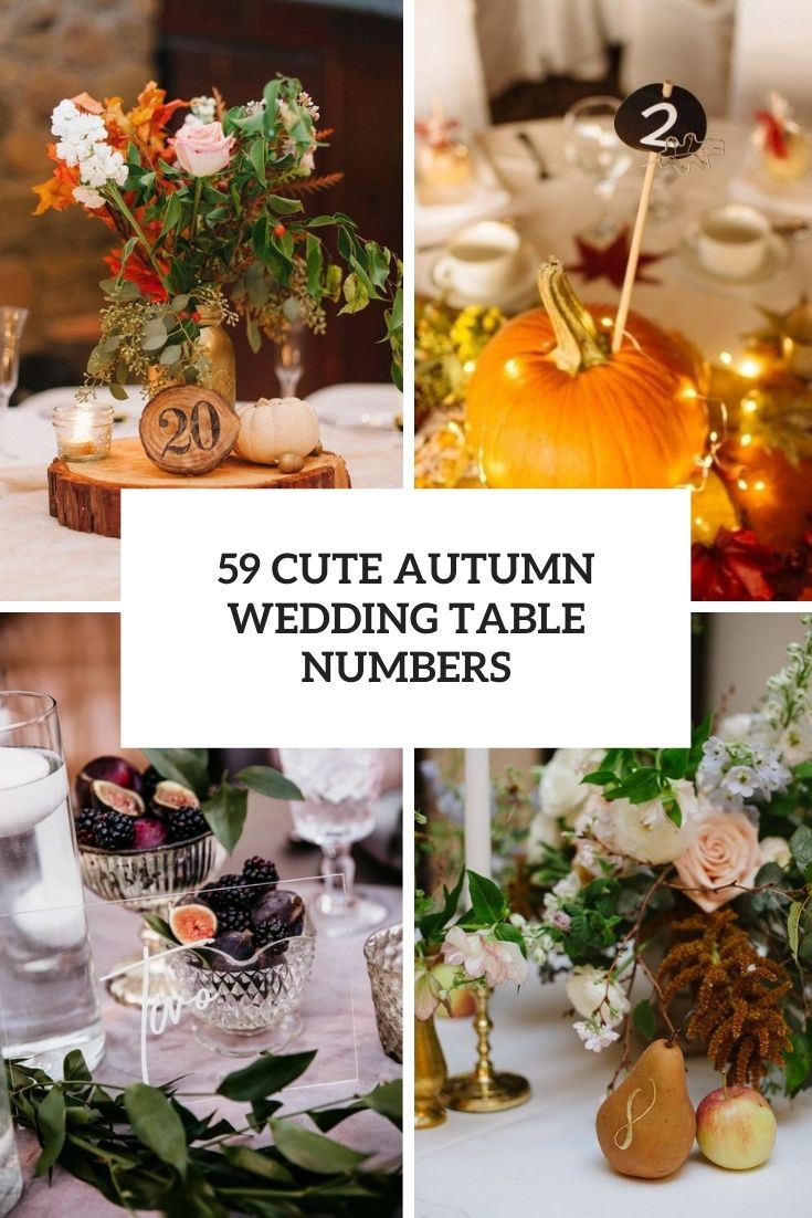 cute autumn wedding table numbers cover