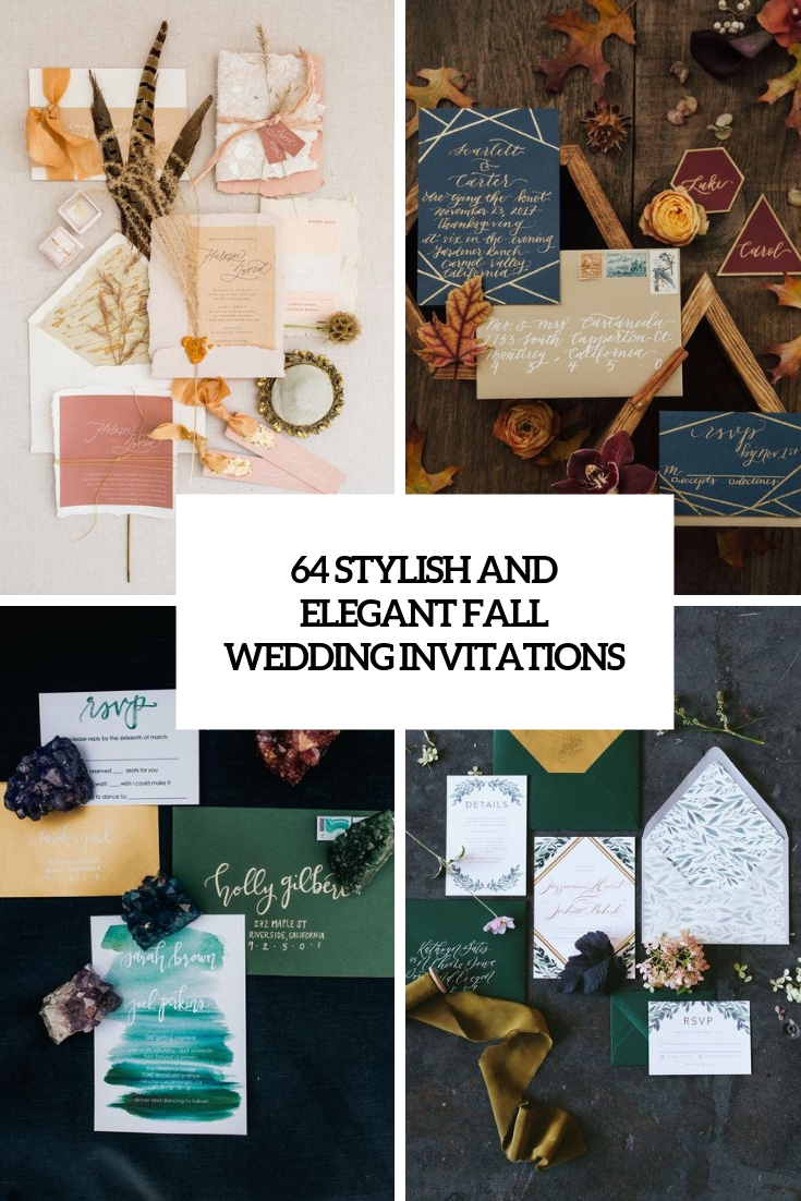 64 Stylish And Elegant Fall Wedding Invitations