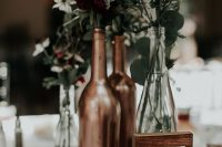 a cool copper wedding centerpiece suitable for fall