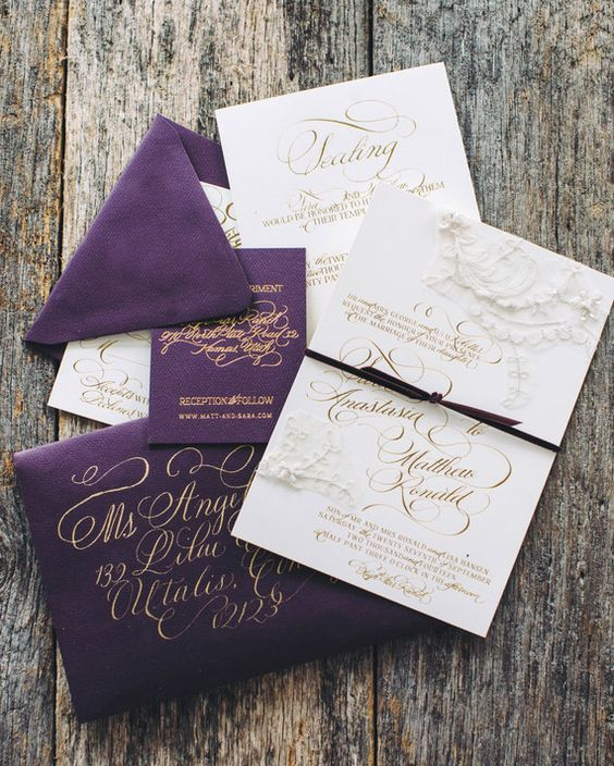 a gorgeous purple, white and gold wedding invitation suite with calligraphy is a chic idea for the fall