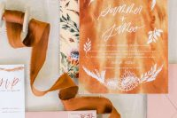 a stylish wedding stationery set in amber, pink and with floral prints is very chic and bright