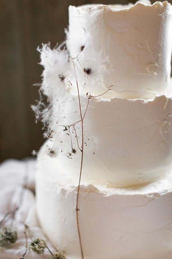 a white textural wedding cake with a raw edge and some dried blooms is a fantastic idea for a modern wedding