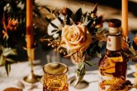 amber bottles and glasses, amber candles and menus are perfect for accenting a fall tablescape