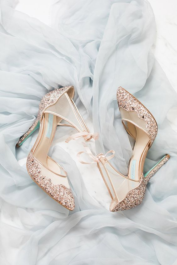 copper glitter wedding shoes with sheer parts and glitter heels are a cool glam accent