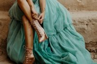 copper satin lace up booties are a bold shoe solution for a modern glam bride