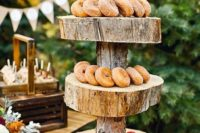display fall-themed desserts and drinks on wooden slices and tree stump stands to embrace your space