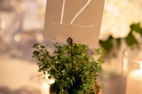 potted greenery with a simple cardboard table number is a cool and easy fall and not only fall decor idea