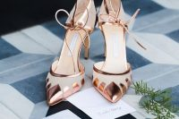 refined copper wedding shoes with laces and geometric accents are a stylish thing for a modern glam bride
