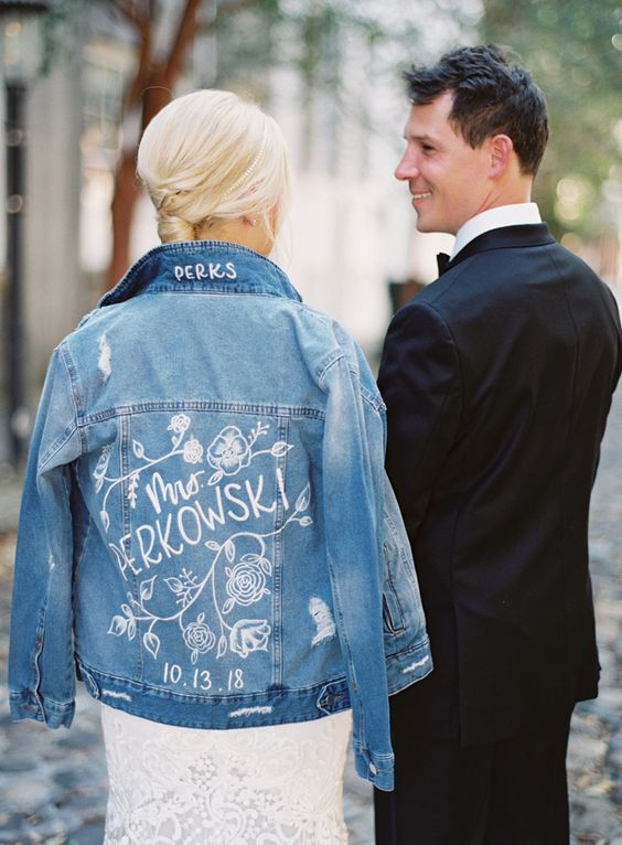 a customized blue denim jacket is a nice idea to calm down the look and make it more casual