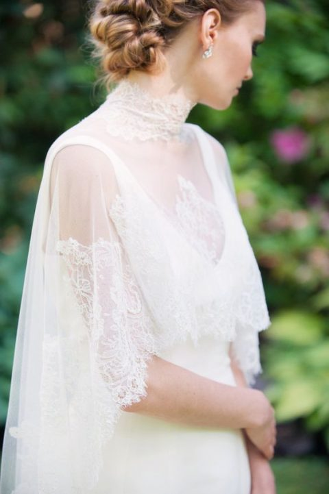 a lace capelet with a lace turtleneck collar will add a vintage feel to your bridal look