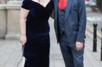 a super chic midnight blue velvet midi off the shoulder wedding dress looks just breathtaking