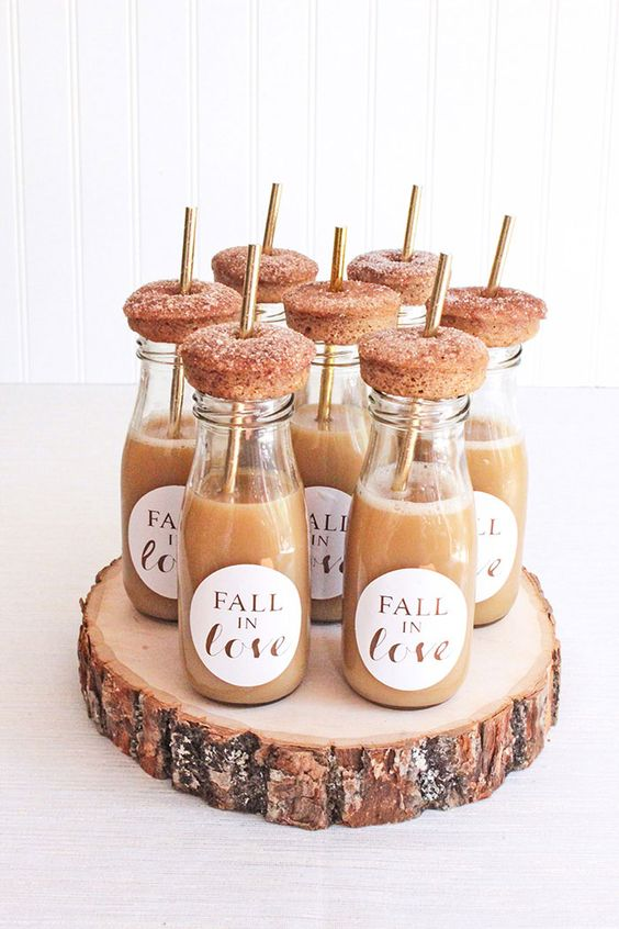 apple cider topper with fresh donuts is a lovely sweet idea for the fall and they are amazing wedding favors, too