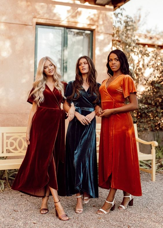 beautiful and bold jewel-tone bridesmaid velvet wrap midi dresses are amazing for rocking them at a fall wedding