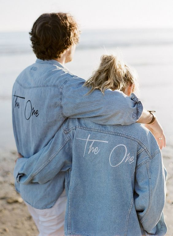 bleached denim jackets for the couple with a little bit of customizing are an amazing casual touch