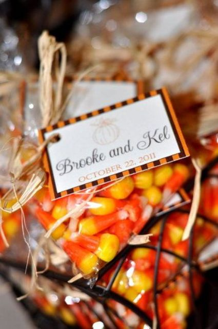 candy corns in packs with tags is a very simple and very fall-inspired idea, everyone will enjoy them a lot