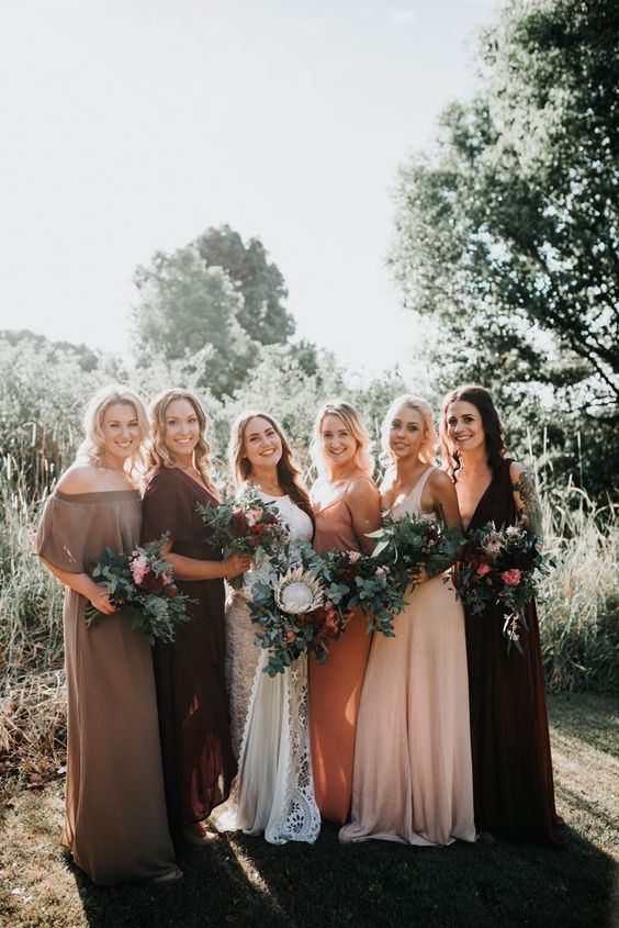 lovely mismatching maxi bridesmaid dresses, off the shoulder, usual and strap ones in rust, taupe, burgundy and blush are amazing