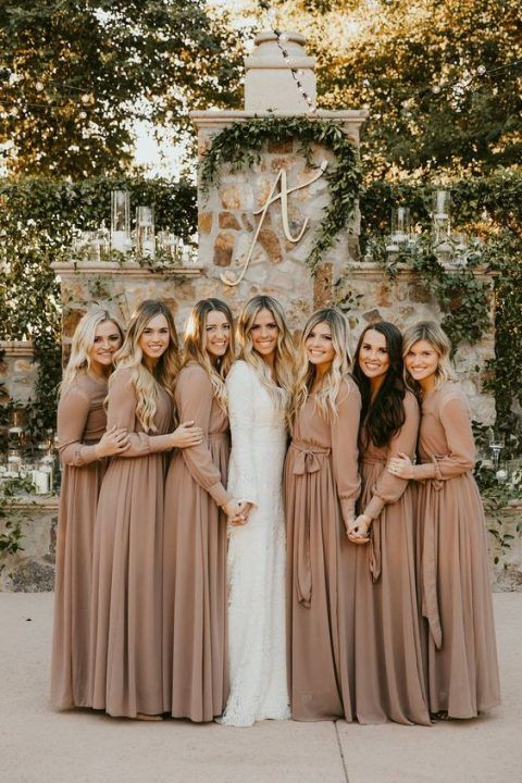 lovely tan maxi bridesmaid dresses with long sleeves and sashes are a very comfrotable in wearing idea for the fall