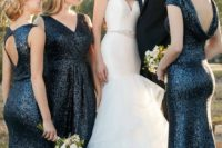 midnight blue sequin mismatching maxi bridemaid dresses look very elegant yet a bit formal