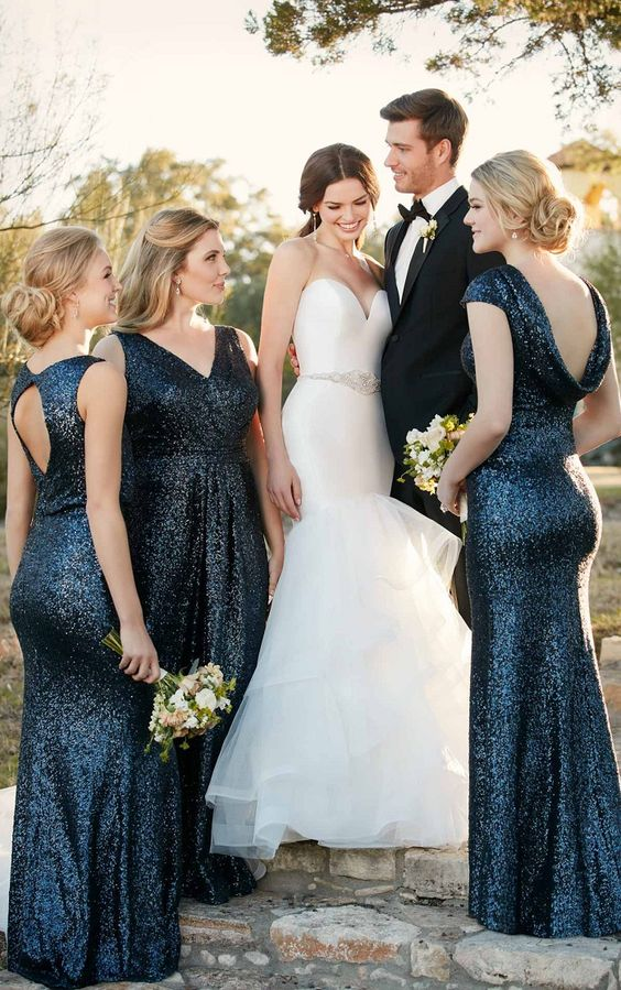 midnight blue sequin mismatching maxi bridemaid dresses look very elegant yet a bit formal